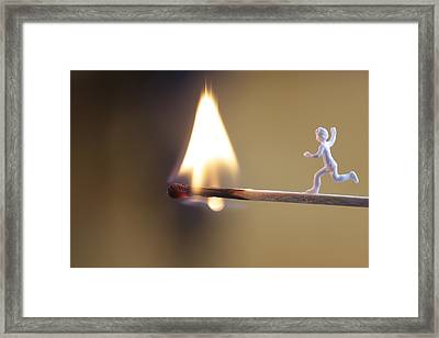 Child Running Towards A Burning Flame Framed Print