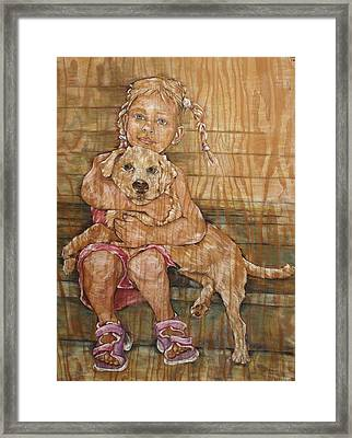 Child With Pup Framed Print by Christine Marek-Matejka