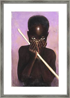 Child With Stick Framed Print by L Cooper
