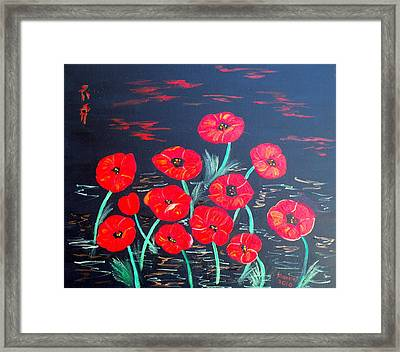 Childlike Poppies Framed Print by Alanna Hug-McAnnally