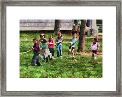 Children - Tug Of War  Framed Print by Mike Savad