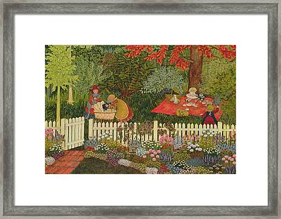 Children And Cats Framed Print