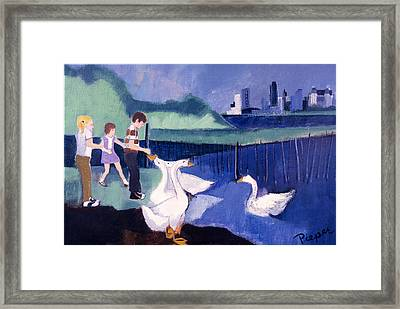 Children And Geese In Central Park 1971 Framed Print by Betty Pieper