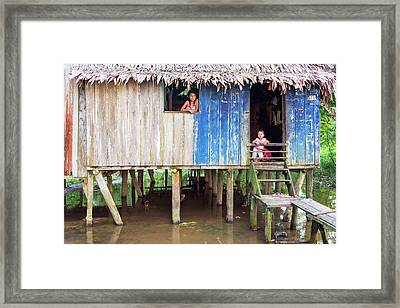 Children And Jungle Shack Framed Print by Jess Kraft