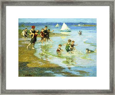 Children At Play On The Beach Framed Print by Edward Henry Potthast
