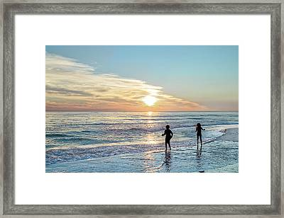 Children At Play On A Florida Beach  Framed Print