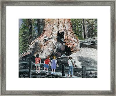 Framed Print featuring the painting Children At Sequoia National Park by Quwatha Valentine