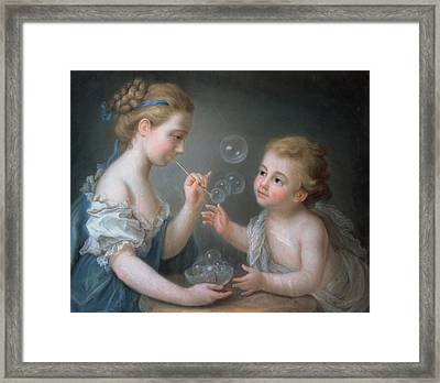 Children Blowing Bubbles Framed Print by Jean-Etienne Liotard