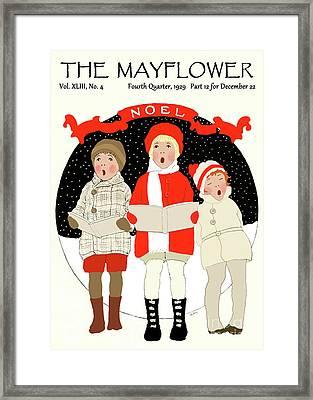 Children Caroling At Christmas Framed Print