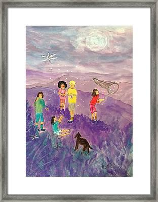Children Catching Fireflies Framed Print