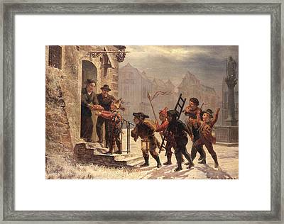 Children Collecting Fruit At The Door   Framed Print by Leopold Til