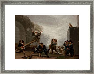 Children Fighting And Playing See Saw Framed Print by Eastern Accents