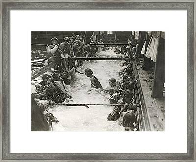 Children Getting Swim Lessons Framed Print by Underwood Archives