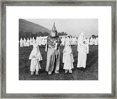 Children In Ku Klux Klan Costumes Pose Framed Print by Everett