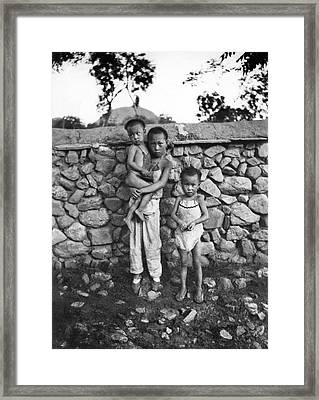 Children In Rural China Framed Print by Underwood Archives