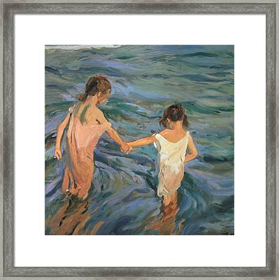 Children In The Sea Framed Print by Joaquin Sorolla y Bastida