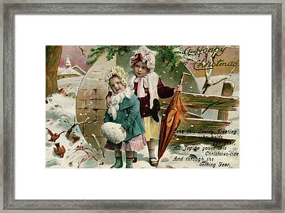 Children In The Snow, Victorian Christmas Card Framed Print by English School