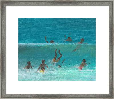 Children In The Surf Framed Print by Lincoln Seligman