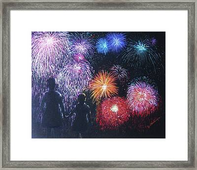 Children On The 4th Of July Framed Print by Diane Larcheveque