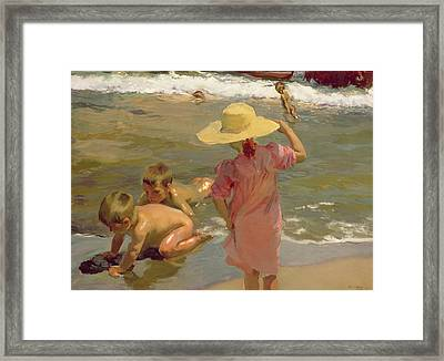 Children On The Seashore Framed Print by Joaquin Sorolla y Bastida