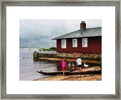 Framed Print featuring the photograph Children Playing At Harbor Essex Ct by Susan Savad