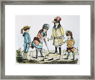 Children Playing Croquet Framed Print by Granger
