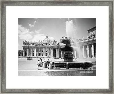 Children Playing In The Fountain At Vatican City, Rome, 1955 Framed Print