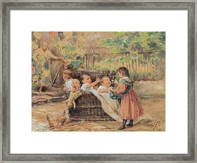 Children Playing In The Garden Framed Print