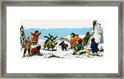 Children Playing In The Snow Framed Print