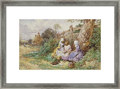 Children Reading Beside A Country Lane Framed Print by Myles Birket Foster
