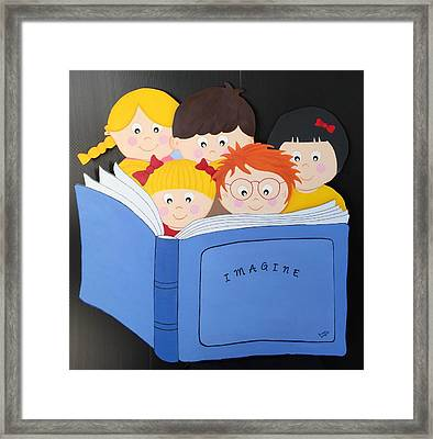 Children Reading Book Framed Print