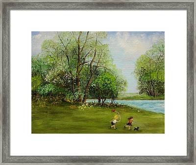 Children Running Framed Print by Irene McDunn