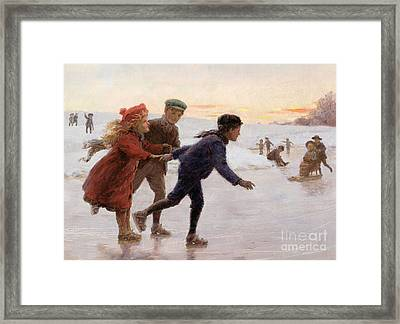 Children Skating Framed Print by Percy Tarrant
