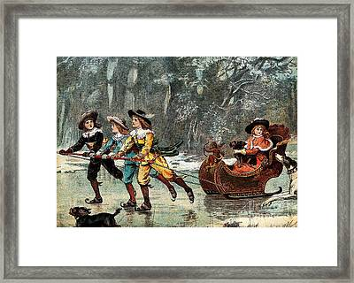 Children Skating With Sleigh, 19th Framed Print by Wellcome Images