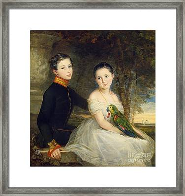 Children With A Parrot Framed Print by MotionAge Designs