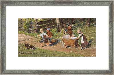 Children With Cart Young Framed Print by Hugo Kauffmann