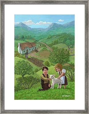 Children With Lamb In Country Landscape Framed Print by Martin Davey
