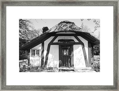 Children's Cottage At Old Westbury Gardens In Black And White Framed Print by John Telfer