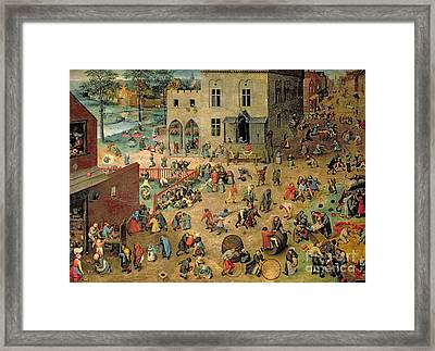 Children's Games Framed Print by Pieter the Elder Bruegel