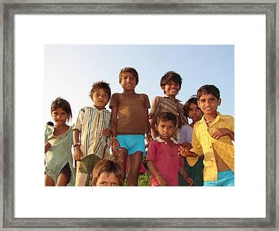 Childrens In Their Free Time At Village Enjoying Framed Print by Sandeep Khanwalkar
