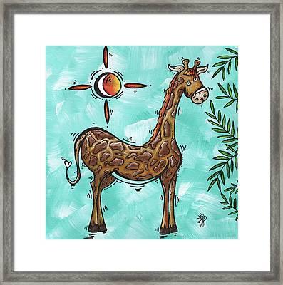 Childrens Nursery Art Original Giraffe Painting Playful By Madart Framed Print by Megan Duncanson