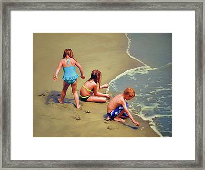 Childrens Shell Hunting At The Beach Framed Print