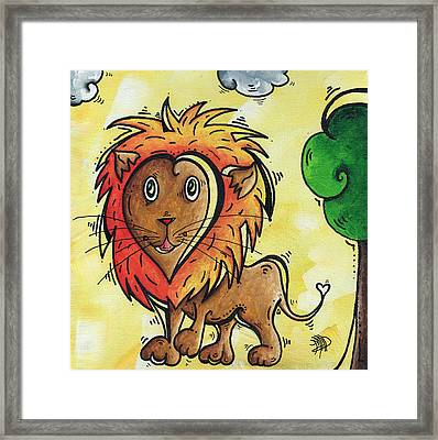 Childrens Whimsical Nursery Art Cutie Pie By Madart Framed Print by Megan Duncanson