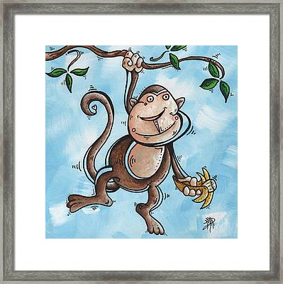 Childrens Whimsical Nursery Art Original Monkey Painting Monkey Buttons By Madart Framed Print by Megan Duncanson