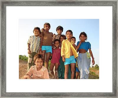 Childrens...enjoying Framed Print by Sandeep Khanwalkar