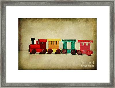 Childs Wooden Train Framed Print by Jacqueline Moore