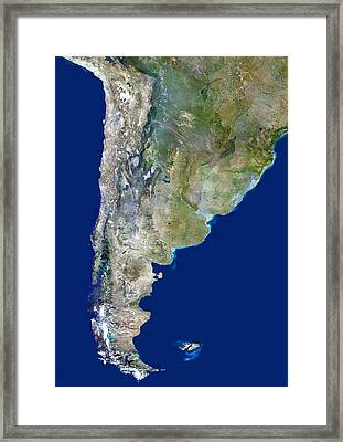 Chile And Argentina, Satellite Image Framed Print
