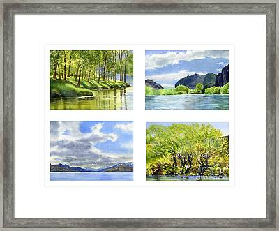 Chilean Trees, Reflections, Mountain Cliffs Framed Print