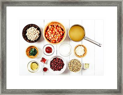 Chili Bean Stew Food Ingredients Top View On White Wood Table Framed Print