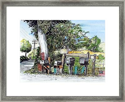 Framed Print featuring the painting Chili Hills Mail Boxes by Terry Banderas